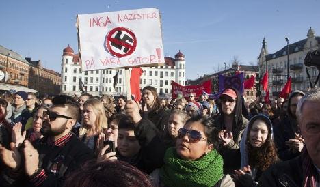 הפגנה נגד הנאו-נאצים במאלמו